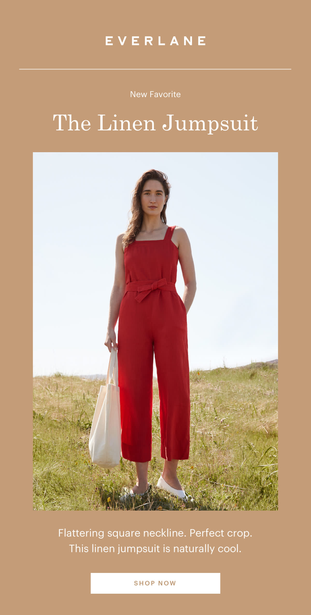 Flattering square neckline. Perfect crop. This linen jumpsuit is naturally cool. SHOP NOW