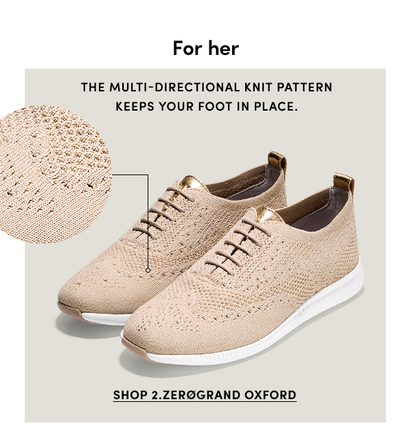 For her | The multi-directional knit pattern keeps your foot in place. | SHOP 2.ZEROGRAND OXFORD